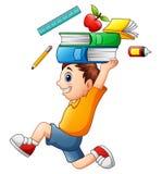 Cartoon boy running and carrying a school supplies. Illustration of Cartoon boy running and carrying a school supplies Royalty Free Stock Photos