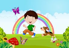 Cartoon a boy running with his pet Stock Photo