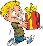 Cartoon boy running with a wrapped gift. Isolated on white Royalty Free Stock Photos