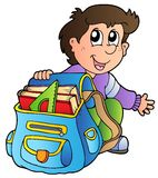 Cartoon boy with school bag Stock Photography