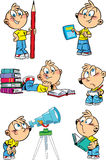 Cartoon boy with school subjects. The illustration shows a set of positions schoolboy and school subjects. Illustration done in cartoon style isolated on white Stock Photos