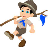 Cartoon boy scout holding blue flag Stock Photography