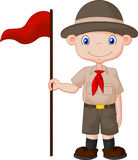 Cartoon boy scout holding red flag Stock Photo