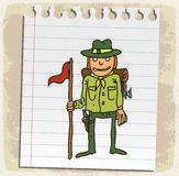 Cartoon boy scout on paper note, vector illustration Stock Image