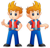 Cartoon boy showing thumbs up and down. Illustration of Cartoon boy showing thumbs up and down Royalty Free Stock Photography