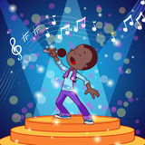 Cartoon boy singing with a microphone. Royalty Free Stock Photo