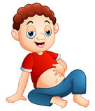 Cartoon boy sitting with a full stomach Stock Photography