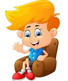 Cartoon boy sitting Royalty Free Stock Photography