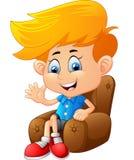 Cartoon boy sitting Royalty Free Stock Photography