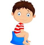 Cartoon boy sitting on the potty Stock Photo