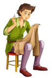 Cartoon boy - sitting and working - sewing - isolated - handsome manga boy. Happy and colorful traditional illustration for children Royalty Free Stock Image