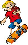 Cartoon of boy on a skateboard Royalty Free Stock Photography
