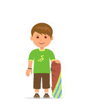 Cartoon boy with a skateboard. The young man is training to skateboarding. Vector flat design illustration. Cartoon boy with a skateboard. The young man is Stock Images