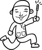 Cartoon boy. Sketch cartoon illustration of a boy playing fireworks Royalty Free Stock Images
