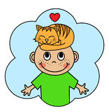 Cartoon boy and sleeping orange cat Royalty Free Stock Photos