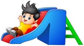 Cartoon boy sliding down. Illustration of Cartoon boy sliding down Royalty Free Stock Images