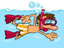 Cartoon boy snorkeling. In blue sea with white background and copy space Stock Images