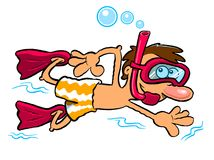 Cartoon boy snorkeling. Isolated on a white background Stock Photography