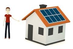 Cartoon boy with solar house Stock Image