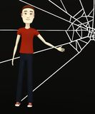 Cartoon boy with spiderweb Royalty Free Stock Photography