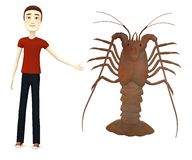 Cartoon boy with spiny lobster Stock Photography