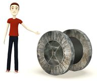 Cartoon boy with spool Royalty Free Stock Image