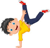 Cartoon boy standing on his hands Stock Images