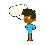 Cartoon boy staring with speech bubble Stock Images