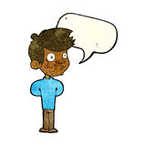 Cartoon boy staring with speech bubble Royalty Free Stock Photos