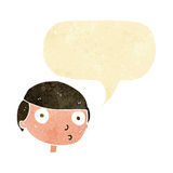 Cartoon boy staring with speech bubble Royalty Free Stock Image
