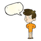 Cartoon boy staring with speech bubble Royalty Free Stock Images