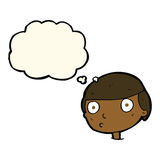 Cartoon boy staring with thought bubble Royalty Free Stock Photo