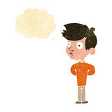 Cartoon boy staring with thought bubble Royalty Free Stock Photography
