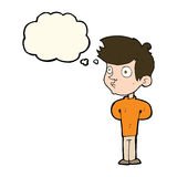 Cartoon boy staring with thought bubble Stock Photo