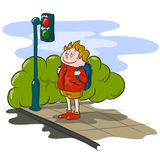 Cartoon Boy and Stop Light Stock Photo