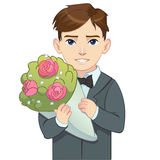 Cartoon boy in suit holding bouquet Royalty Free Stock Photography