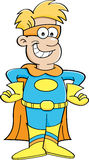 Cartoon boy in a superhero costume Royalty Free Stock Image
