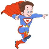 Cartoon superhero flying to help Stock Images