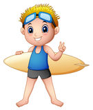 Cartoon boy with a surfboard. Illustration of Cartoon boy with a surfboard Royalty Free Stock Images