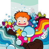 Cartoon boy swimming Stock Images