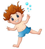 Cartoon boy in swimsuit jumping vector illustration