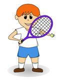 Cartoon Boy - Tennis. Orange haired cartoon boy playing tennis Stock Image