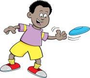 Cartoon boy throwing a flying disc Stock Photo
