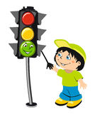 Cartoon boy and traffic light Royalty Free Stock Photography