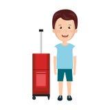 Cartoon boy with travel luggage Stock Image