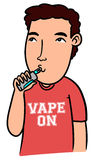 Cartoon boy vaping with isolated background Stock Photo