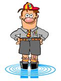 Cartoon boy wading in pool. Cartoon caricature of young boy in shorts and boots wading in pool of water Stock Photos
