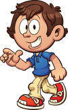 Cartoon boy. Walking and pointing. Vector clip art illustration with simple gradients. Some elements on separate layers. Both legs are fixed together and on the Stock Image