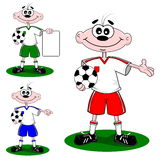 Cartoon boy wearing a football soccer strip Royalty Free Stock Photo