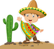 Cartoon boy wearing Mexican dress Stock Images